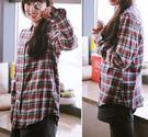 ☆莎lala (5折商品)【CS012401】日系襯衫-( L ‧現)水洗棉格子襯衫上衣