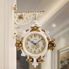 歐式雙面掛鐘客廳現代靜音家用現代掛表創意時鐘裝飾石英鐘表