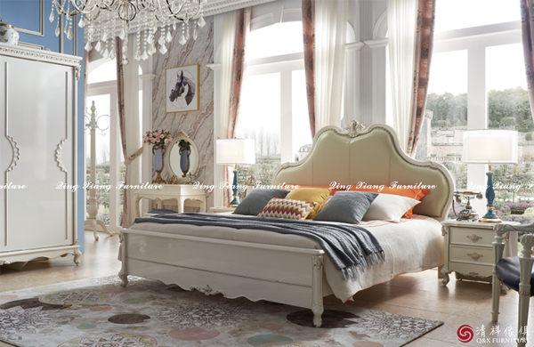 【新竹清祥傢俱】 EBB-06BB13-小英式簡約新古典珍珠白床架 (只有六尺) 亮烤系列