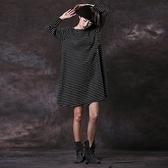 長袖連身裙-寬鬆圓領橫條紋及膝女短裙3色73vu30[巴黎精品]