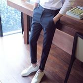 【新年鉅惠】西褲男士西服褲子韓版潮流加絨小腳黑色九分修身商務休閒西裝褲冬