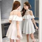 夜場短款流行裙子夏季2020新款女裝掛脖露肩荷葉邊連身裙洋裝顯瘦氣質禮服 OO10335【雅居屋】