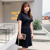 200斤大尺碼 女裝2019夏裝新款遮肚微胖mm仙女人顯瘦減齡洋氣連身裙