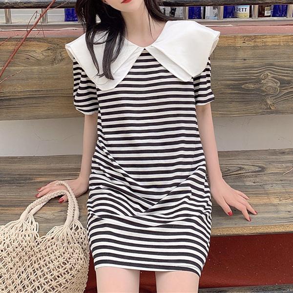 M洋裝  白領 黑條-月兒的綺麗莊園