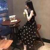 v領網紗度假仙女長裙星星刺繡碎花chic吊帶洋裝ins超火裙子女夏 時尚芭莎