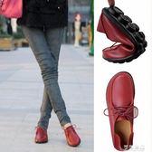 春秋韓版平底女鞋平跟單鞋軟底休閒皮鞋媽媽鞋豆豆鞋 可可鞋櫃