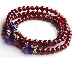 酒紅石榴石多層搭配紫水晶手鏈