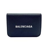 【台中米蘭站】全新品 Balenciaga 經典Logo牛皮壓釦三折Mini短夾(593813-黑)