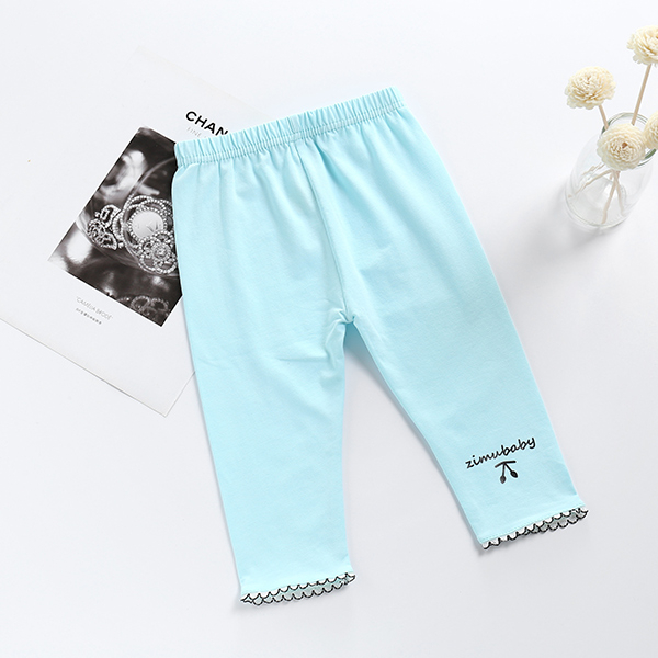 女童內搭褲 打底褲 彈力內搭褲 荷葉邊 糖果色 居家褲 兒童七分褲 SL671 童裝