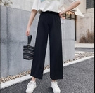 直筒褲闊腿褲M-2XL韓國韓系墜感雪紡闊腿褲女夏季直筒高腰寬鬆九分R028.1441號公館