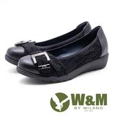W&M 方釦裝飾蕾絲拼接厚底娃娃鞋 女鞋 - 黑(另有灰)