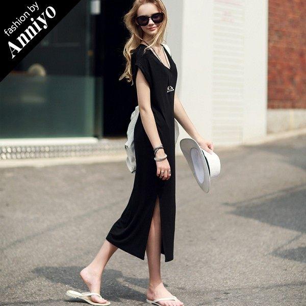 Anniyo安妞‧韓版簡約時尚氣質短袖V領寬鬆開叉高雅莫代爾棉質長裙長洋裝 黑色