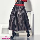 【SHOWCASE】個性壓光長紗澎裙(黑)