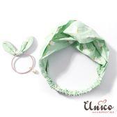 UNICO 韓版 新款粉綠色小鴨交叉髮帶+髮圈2入組
