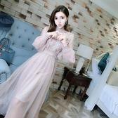 度假洋裝  溫柔仙女裙2020韓版超仙女氣燈籠袖網紗蕾絲連身裙