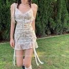 法式洋裝 法式性感碎花吊帶仙女裙子夏季蕾絲復古短裙魚尾連身裙-Ballet朵朵