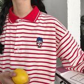 情侶裝夏裝原宿bf風polo衫翻領上衣百搭條紋短袖t恤男寬鬆學生潮 【萬聖節八五折鉅惠】