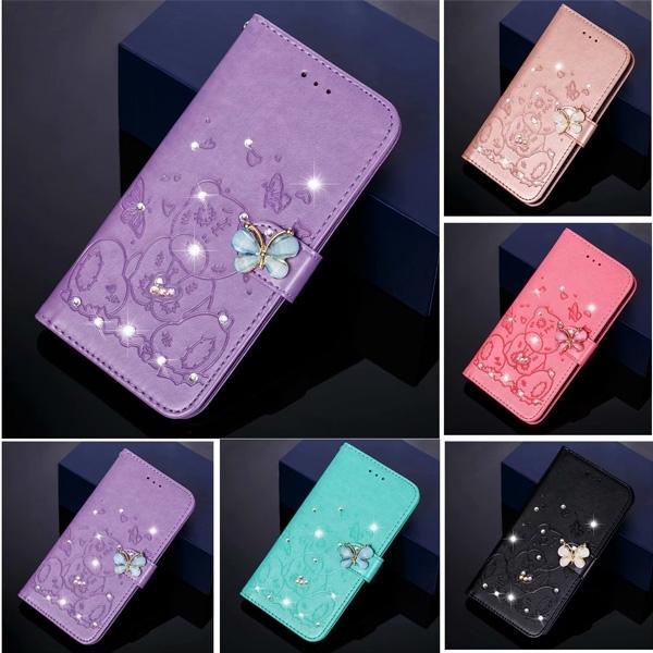 蘋果 iPhone 12 12 Pro 12 Pro Max 蝴蝶小熊 手機皮套 掀蓋殼 插卡 支架 可掛繩 保護套