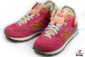 New Balance 574 新竹皇家 珊瑚粉 麂皮 內刷毛 輕量 慢跑鞋 女款 NO.I7142