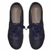 Cocorose london平底鞋 娃娃鞋STRATFORD真皮綁帶平底鞋 簍空雕花款-深藍