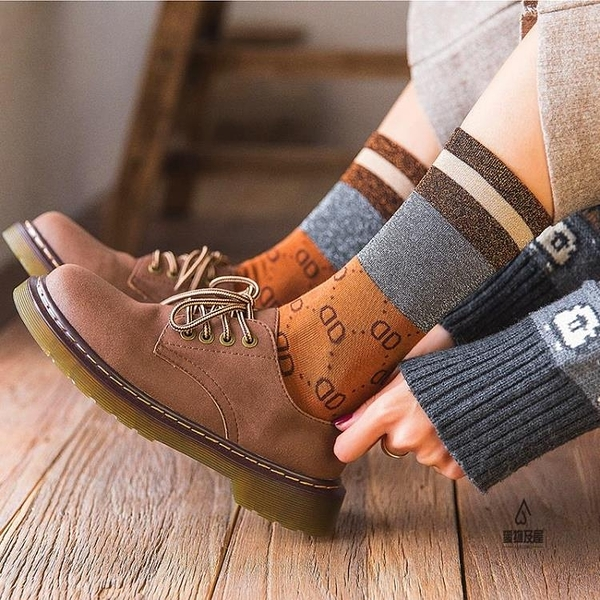 長襪子女金銀絲堆堆襪復古百搭亮絲中筒襪【愛物及屋】