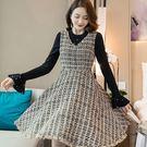 美之札[98706-QF]小奢華蘇格蘭風粗花呢流蘇下擺背心裙秋冬洋裝