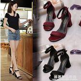 新款韓版高跟鞋粗跟女夏中跟鞋一字扣帶羅馬涼鞋