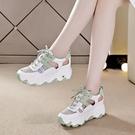 鏤空內增高涼鞋女2021年夏季新款百搭透氣網紗軟底老爹運動旅游鞋 快速出貨
