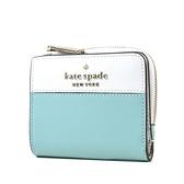 美國正品 KATE SPADE 銀字LOGO拚色防刮對開釦式短夾-綠/白【現貨】