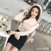 中大尺碼長袖雪紡衫 女士洋氣小衫襯衫蕾絲喇叭袖上衣 nm8141【VIKI菈菈】