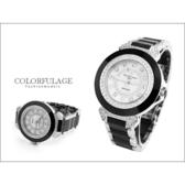 Valentino范倫鐵諾 名媛必備珍珠貝面爪鑲方晶鋯石精密陶瓷手錶腕錶【NE744】單支