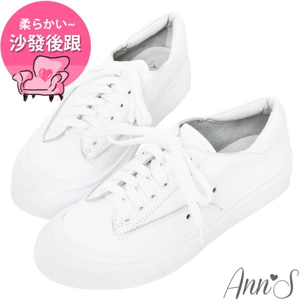 Ann'S餅乾家族-綁帶全真皮小白鞋-白