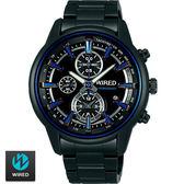 WIRED SEIKO副牌 藍色三眼特殊光影黑鋼帶錶 43mm 7T92-X260B AF8T25X1   名人鐘錶