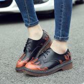 韓版圓頭牛津皮鞋 英倫休閒粗跟鞋子《小師妹》sm876