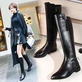 長筒靴真皮馬靴高筒靴子平跟騎士靴中筒長靴尖頭平底女靴