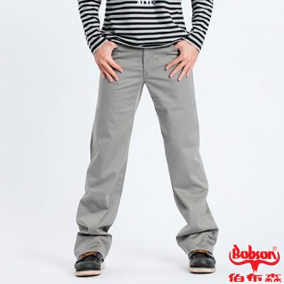 【BOBSON】男款植絨貼合布保暖直筒褲(灰72)