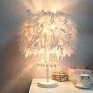 創意網紅羽毛燈客廳臥室床頭溫馨浪漫酒店白色桿水晶檯燈【中號】