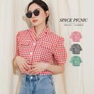 襯衫 Space Picnic|假口袋格紋三釦短袖襯衫(現貨)【C19072043】