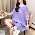 短袖t恤女夏季韓版寬鬆顯瘦大碼女裝 中長款休閑百搭法式連身裙子