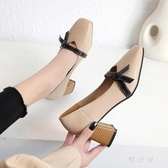 單鞋女2020春高跟鞋粗跟仙女風百搭中跟女鞋新款淺口一字帶奶奶鞋 OO4721【雅居屋】
