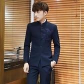 西裝 男套裝修身立領休閒小西服中國風唐裝中山裝單西外套 阿宅