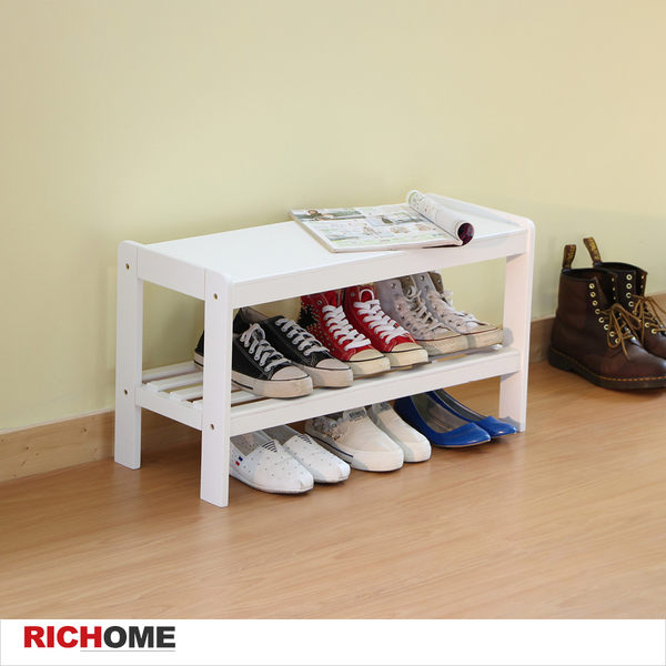 【RICHOME】♥ CH1066 ♥ 《日式和風穿鞋椅-白色》鞋櫃/鞋架/書架/收納椅/花架/置物架