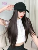 假髮帽帽子女遮陽鴨舌帽女夏天假發女長發假發帽子一體時尚長直發全頭套
