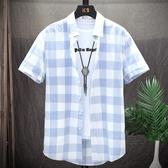 男士韓版短袖襯衫夏季潮流寬松格子襯衣潮牌休閑男裝上衣服外套男