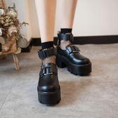 春季原宿大頭娃娃鞋厚底中口魔術貼腳環綁帶方扣軟妹鞋   歐韓時代