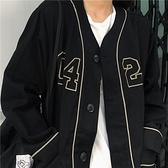 棒球服夾克外套 魚小六YU 復古經典美式棒球服女男秋冬黑色字母刺繡衛衣外套 優拓