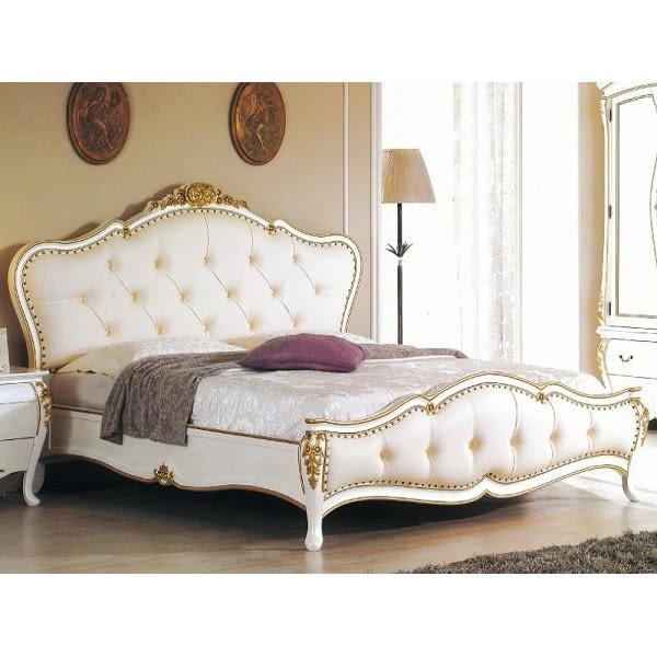 床架 床台 SB-003-1 艾麗絲6尺法式白色金邊雙人床 (不含床墊) 【大眾家居舘】