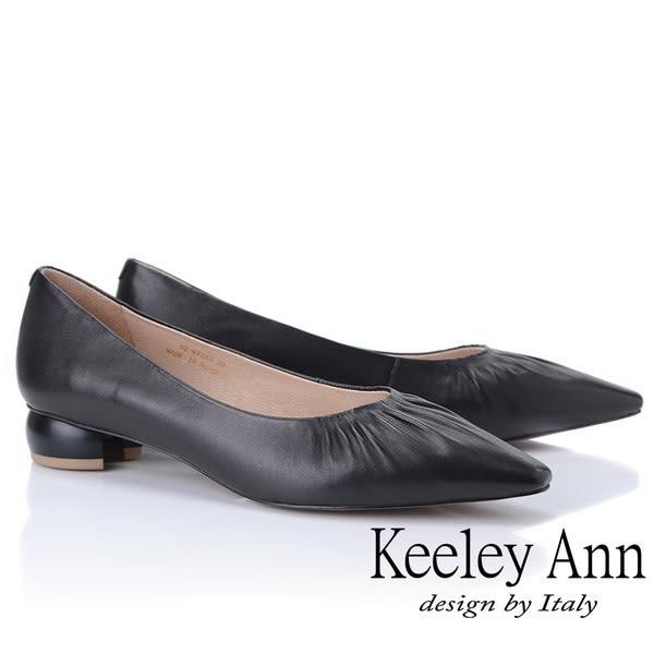 ★2019春夏★Keeley Ann慵懶盛夏 小資女抓皺造型圓跟包鞋(黑色) -Ann系列