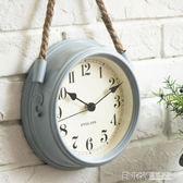 北歐現代簡約鐘錶超靜音臥室掛鐘客廳鐵藝金屬鐘錶個性創意石英鐘igo 溫暖享家