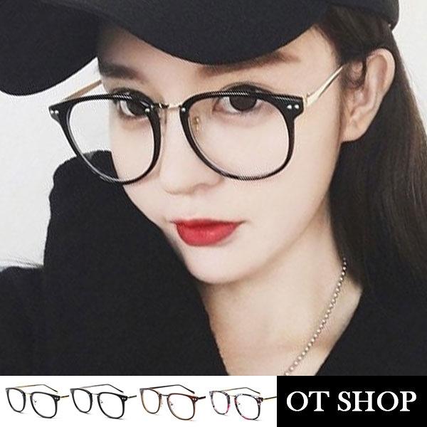 OT SHOP眼鏡框‧中性情侶款眼鏡金屬雙鉚釘平光眼鏡‧亮黑/霧黑/茶色/豹紋/碎花‧現貨‧L12